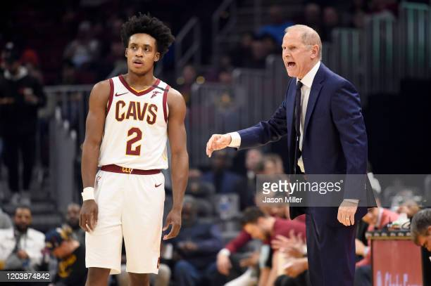 Collin Sexton of the Cleveland Cavaliers listens to head coach John Beilein during the second half against the New York Knicks at Rocket Mortgage...