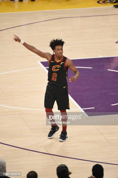 Collin Sexton of the Cleveland Cavaliers looks on during the game against the Los Angeles Lakers on January 13 2019 at STAPLES Center in Los Angeles...