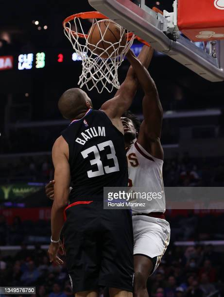 Collin Sexton of the Cleveland Cavaliers makes a shot against Nicolas Batum of the LA Clippers in the second quarter at Staples Center on October 27,...