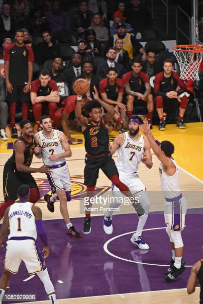 Collin Sexton of the Cleveland Cavaliers passes the ball against the Los Angeles Lakers on January 13 2019 at STAPLES Center in Los Angeles...