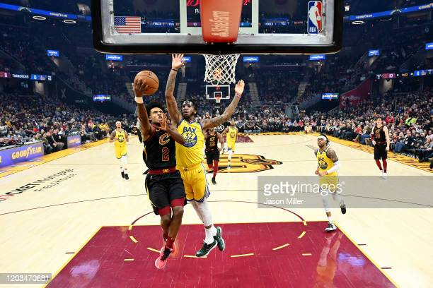 Collin Sexton of the Cleveland Cavaliers shoots over Marquese Chriss of the Golden State Warriors during the second half at Rocket Mortgage...