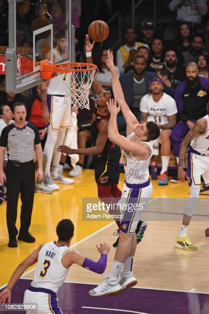 Collin Sexton of the Cleveland Cavaliers shoots the ball against Ivica Zubac of the Los Angeles Lakers on January 13 2019 at STAPLES Center in Los...