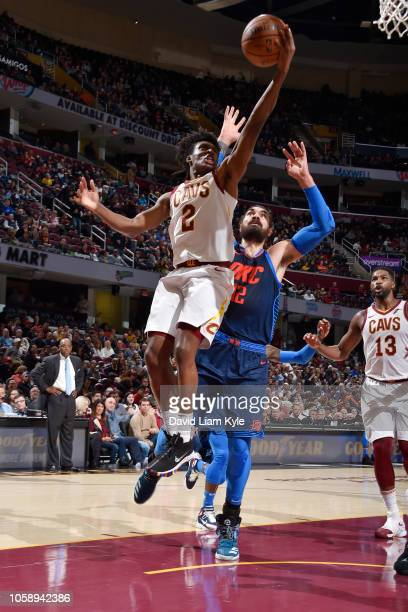 Collin Sexton of the Cleveland Cavaliers shoots the ball against the Oklahoma City Thunder on November 7 2018 at Quicken Loans Arena in Cleveland...