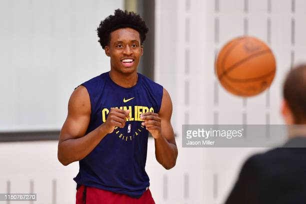 Collin Sexton practices prior to a press conference introducing new head coach John Beilein at Cleveland Clinic Courts on May 21 2019 in Independence...