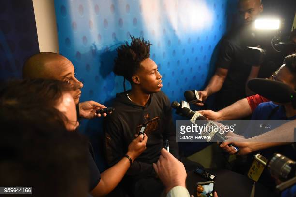 Collin Sexton speaks with reporters during Day One of the NBA Draft Combine at Quest MultiSport Complex on May 17 2018 in Chicago Illinois NOTE TO...