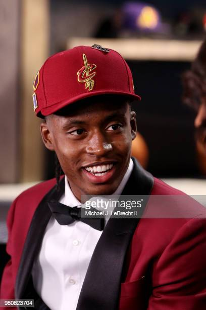 Collin Sexton talks to the media after being selected eighth overall by the Cleveland Cavaliers on June 21 2018 at Barclays Center during the 2018...