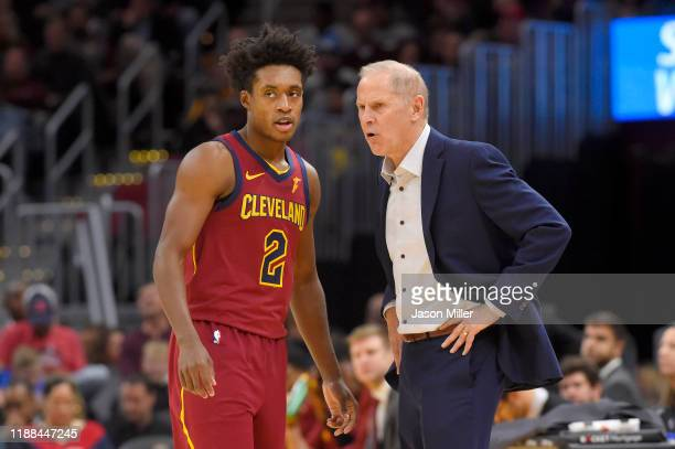 Collin Sexton talks with head coach John Beilein of the Cleveland Cavaliers during the second half against the Philadelphia 76ers at Rocket Mortgage...