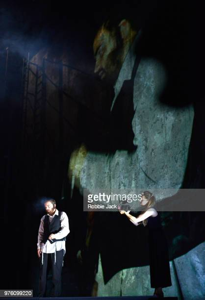 Collin Shay as Yoel and Paulina Jurzec as Live camera in the Royal Opera's production of Na'ama Zisser's Mamzer Bastard directed by Jay Scheib and...