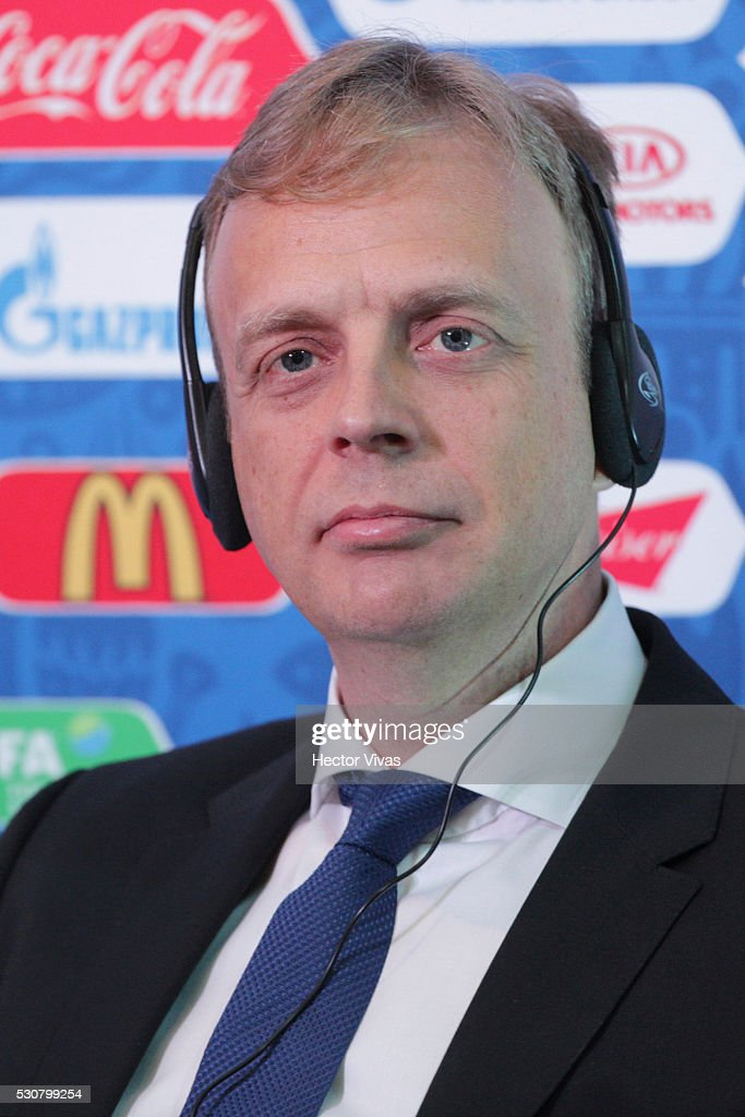 Collin Smith, director of FIFA competitions hears questions during the FIFA Confederations Media Event at CAR on May 11, 2016 in Mexico City, Mexico.