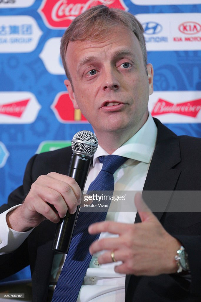 Collin Smith, director of FIFA competitions speaks during the FIFA Confederations Media Event at CAR on May 11, 2016 in Mexico City, Mexico.