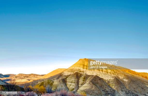 colline jaune - painted hills stock pictures, royalty-free photos & images