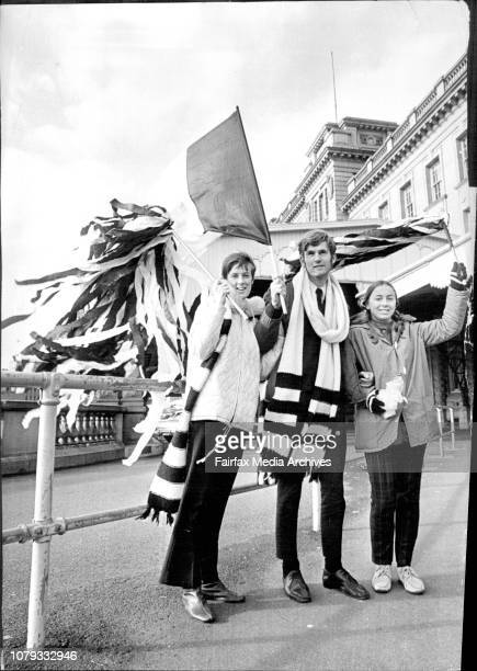 A Collingwood cheer squad arrived at Central Station this morning for the annual Aussie rules match at The Sydney Cricket GroundThree fans left to...