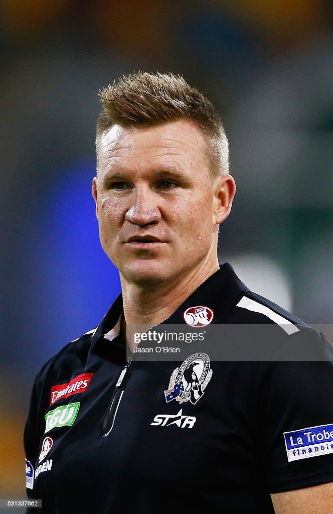Collingwood coach Nathan Buckley during the round eight AFL match between the Brisbane Lions and the Collingwood Magpies at The Gabba on May 14, 2016 in Brisbane, Australia.