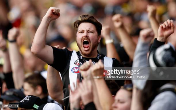 Collingwood fan cheers during the 2018 AFL round six match between the Collingwood Magpies and the Richmond Tigers at the Melbourne Cricket Ground on...