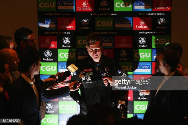 Collingwood Magpies AFL coach Nathan Buckley speaks to the media during a press conference at the Holden Centre on July 11 2017 in Melbourne Australia