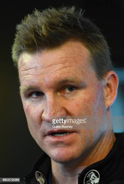 Collingwood Magpies AFL coach Nathan Buckley speaks to the media at the Holden Centre on May 9 2017 in Melbourne Australia