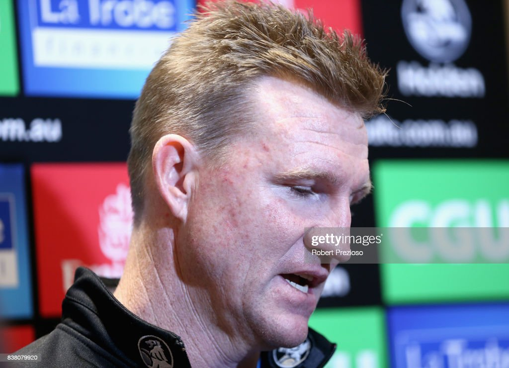 Collingwood Magpies AFL coach Nathan Buckley speaks to the media at the Holden Centre on August 24, 2017 in Melbourne, Australia.