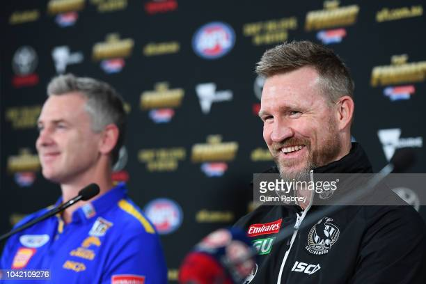 Collingwood Magpies coach Nathan Buckley and West Coast Eagles coach Adam Simpson attend the official 2018 AFL Grand Final press conference at the...