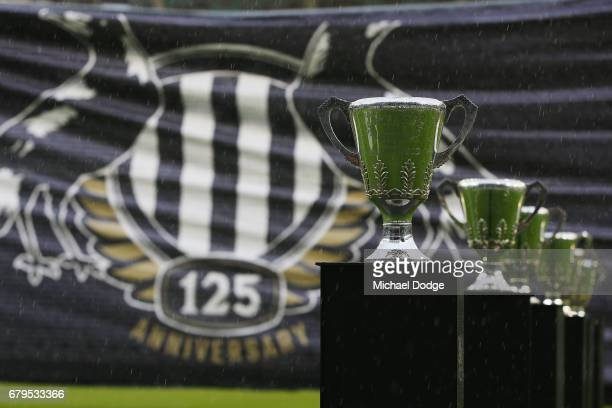 Collingwood Magpies Premiership cups stand in front of the banner as part of the 125 year celebrations for the club during the round seven AFL match...
