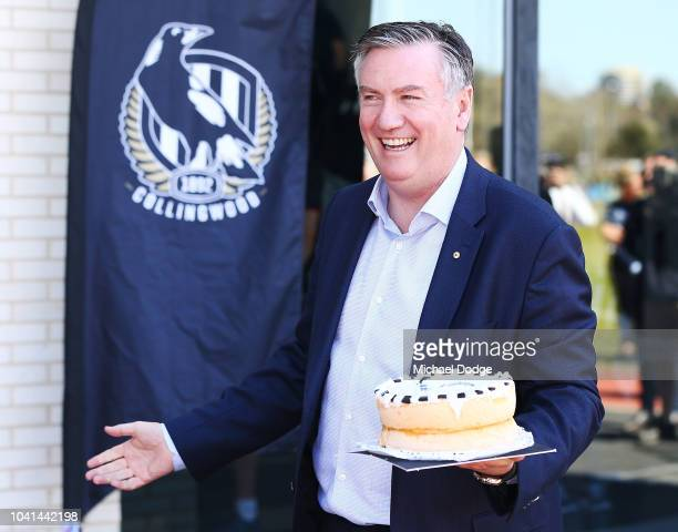 Collingwood President Eddie McGuire is seen with a cake during a Collingwood Magpies AFL training session at Holden Centre on September 27 2018 in...