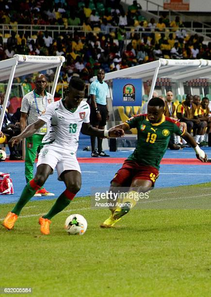 Collins Fai of Cameroon in action during the 2017 Africa Cup of Nations group A football match between Cameroon and Guinea Bissau at the l'Amitié...