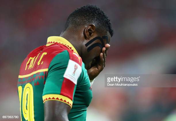 Collins Fai of Cameroon looks dejected after the FIFA Confederations Cup Russia 2017 Group B match between Cameroon and Chile at Spartak Stadium on...
