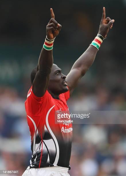 Collins Injera of Kenya celebrates victory in the Bowl final match between Kenya and USA on day three of the 2012 IRB Hong Kong Sevens at Hong Kong...