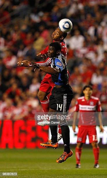 Collins John of the Chicago Fire and Brandon McDonald of the San Jose Earthquakes leap for a header in an MLS match on April 10 2010 at Toyota Park...