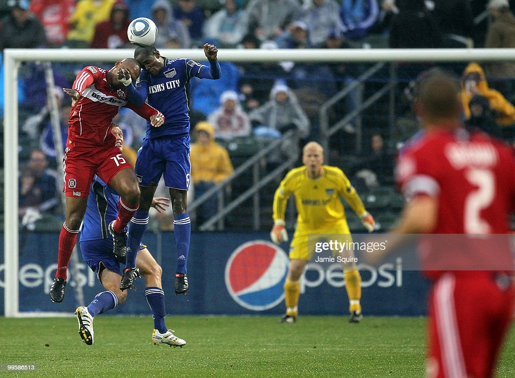 Collins John #15 of the Chicago Fire battles Pablo Escobar #6 of the Kansas City Wizards for a header during the game on May 15, 2010 at Community America Park in Kansas City, Kansas.