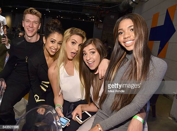 Collins Key guests and Teala Dunn attend as Beautycon Media curates the first digital content creator town hall with Hillary Clinton at NeueHouse Los...