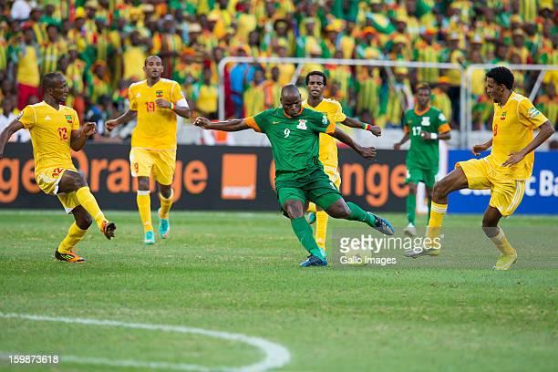 Collins Mbesuma Zewg Biyadiglign Elyas Gebreyes Adane Girma Rainford Kalaba and Gobena Asrat Megersa during the 2013 Orange African Cup of Nations...