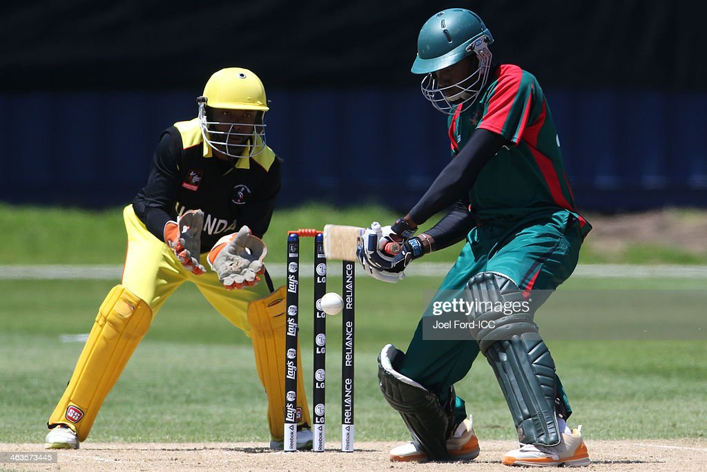 Collins Obuya of Kenya plays a shot during an ICC World Cup qualifying match against Uganda on January 19, 2014 in Mount Maunganui, New Zealand.