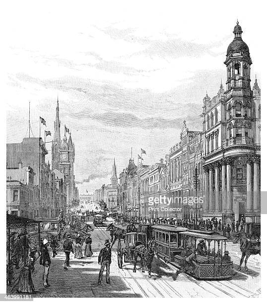 Collins Street looking east Melbourne Victoria Australia 1886 Wood engraving from 'Picturesque Atlas of Australasia Vol I' by Andrew Garran...