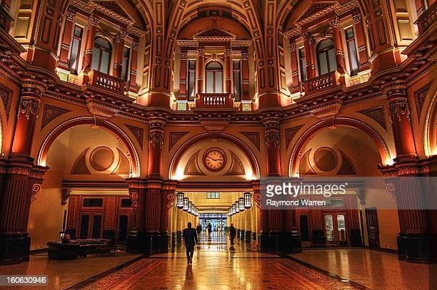 Collins Street Melbourne Australia Lobby entrance foyer building ornate architecture lifts Image Horizontal Color People Background People...