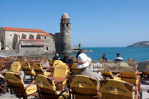 Collioure at Cote Vermeille; in the background the church of Notre Dame des Anges