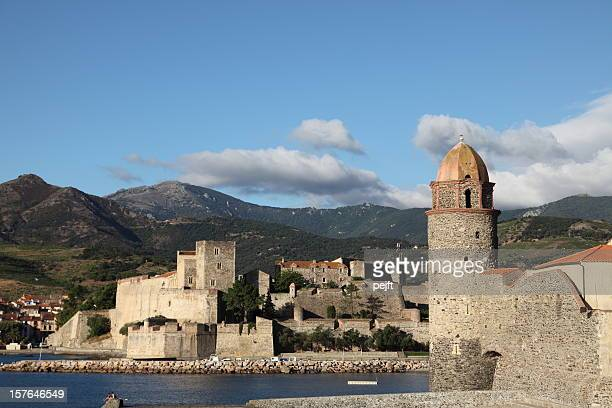 collioure - church / lighthouse tower - pejft stock pictures, royalty-free photos & images