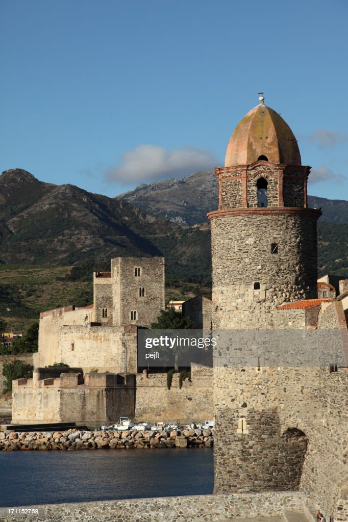 Collioure - church / lighthouse tower : Stock Photo