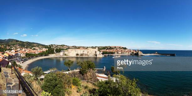 collioure panorama - famous historic village in south of france (languedoc-roussillon) - languedoc rousillon stock pictures, royalty-free photos & images