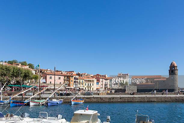 Collioure with port and sailboats- famous historic village in south of France