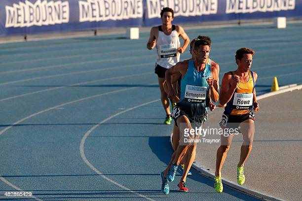 Collis Birmingham runs in the mens 5000m final during the 92nd Australian Athletics Championships at Olympic Park on April 5 2014 in Melbourne...