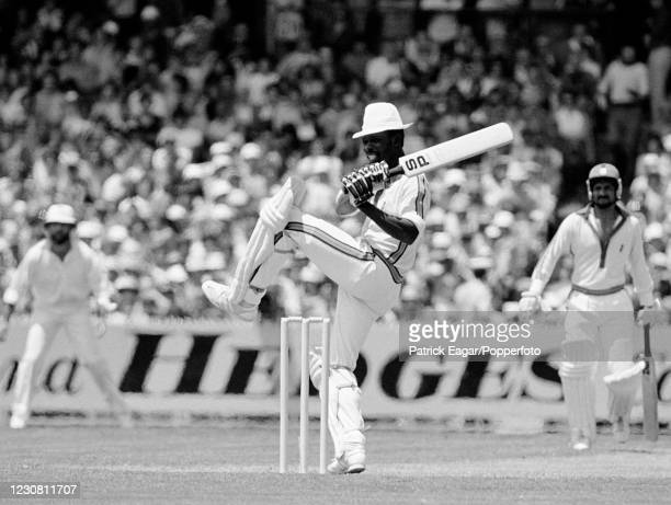 Collis King of West Indies batting during his innings of 31 not out in the 1st Benson and Hedges World Series Cup Final between England and West...