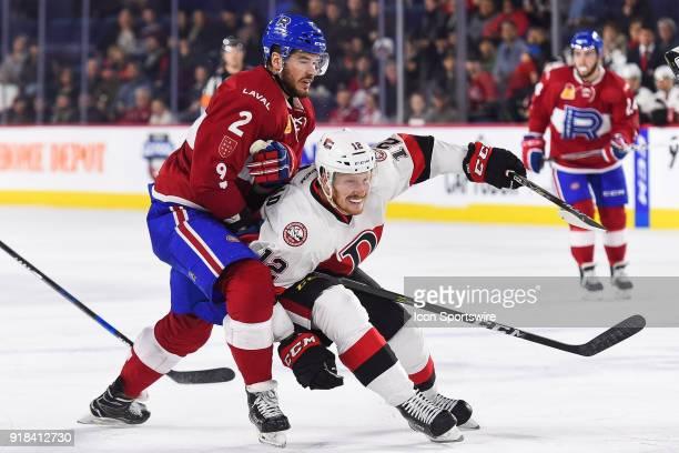 Collision between Laval Rocket defenceman Eric Gelinas and Belleville Senators right wing Jack Rodewald during the Belleville Senators versus the...