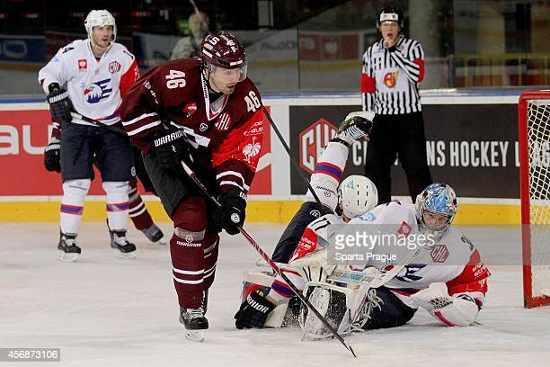 Collision in front of the Adler Mannheim net during the Champions Hockey League group stage game between Sparta Prague and Adler Mannheim on October...