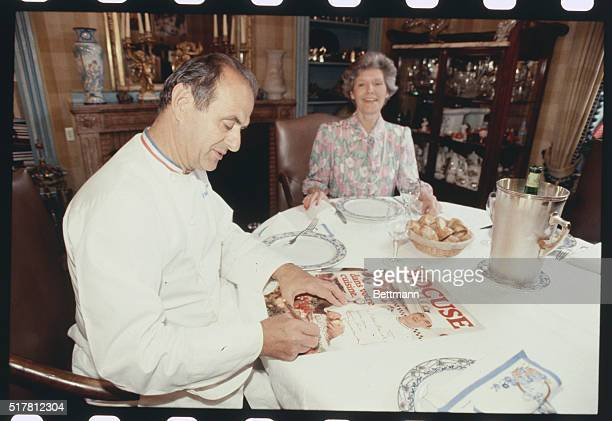 CollognesAuMont D'Or France Paul Bocuse the best known chef of France seen with his wife Raymonde 5/26 in their restaurant on the bank of the placid...