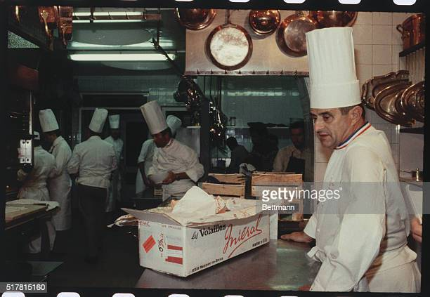 CollognesAuMontD'Or France Paul Bocuse with his kitchen crew