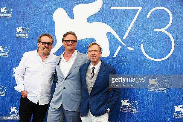 Colm Meaney Nick Hamm and Timothy Spall attend a photocall for 'The Journey' during the 73rd Venice Film Festival at Palazzo del Casino on September...