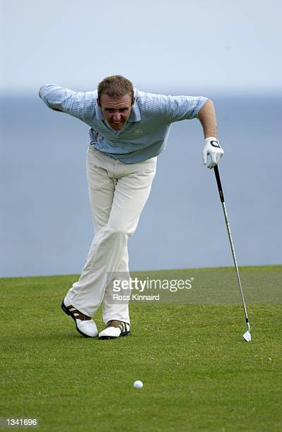 Colm Moriaty the amature from Athlone in Ireland during the Final Qualifying round for the 131st British Open Championships at the North Berwick Golf...