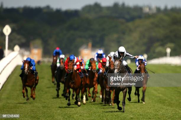 Colm O'Donoghue celebrates as he rides Alpha Centauri to win The Coronation Stakes on day 4 of Royal Ascot at Ascot Racecourse on June 22 2018 in...