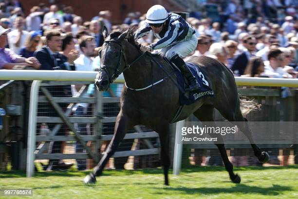 Colm ODonoghue riding Alpha Centauri win The Tattersalls Falmouth Stakes at Newmarket Racecourse on July 13 2018 in Newmarket United Kingdom