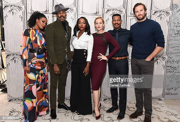 Colman Domingo, Aja Naomi King, Penelope Ann Miller, Nate Parker, Armie Hamme and Aunjanue Ellis attend The Build Series to discuss 'The Birth Of A...